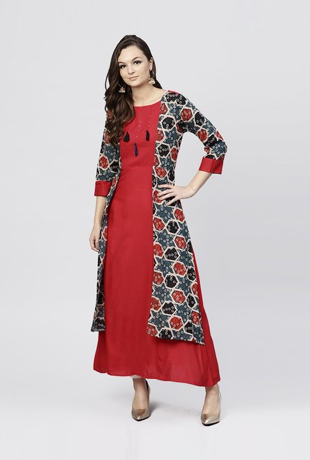 2b40a6f12 Buy Aasi - House of Nayo Red Cotton Printed A Line Kurti With Jacket for  Women Online   Tata CLiQ