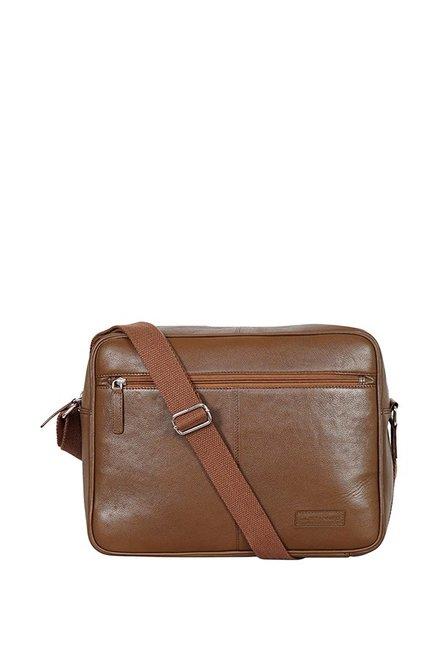 Justanned Tan Leather Messenger Bag