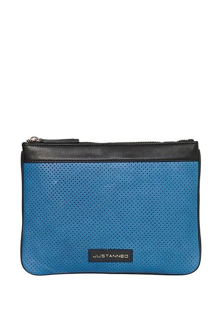 Justanned Blue Leather Unisex Travel Pouch