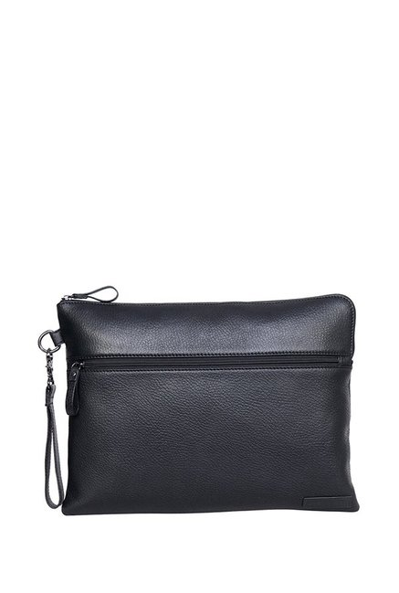 Justanned Black Leather Laptop Sleeve