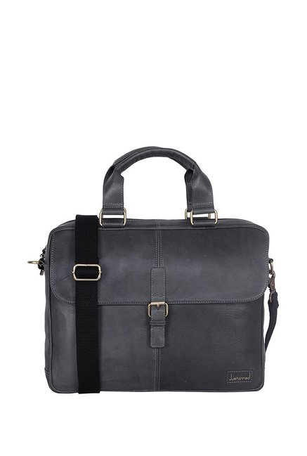 Justanned Grey Leather Laptop Messenger Bag