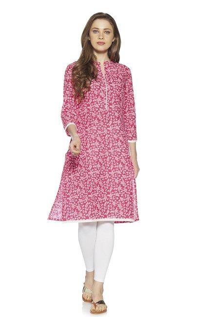 b1087e2911 Buy Zudio Fuchsia Floral Detailed A-Line Kurta for Women Online ...