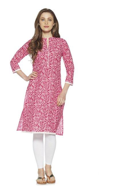 ca2013bfc3 Buy Zudio Fuchsia Floral Detailed A-Line Kurta for Women Online   Tata CLiQ