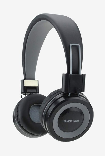 Portronics Muffs G On the Ear Wireless Bluetooth Headphone with Mic and Aux POR 012  BlackGrey
