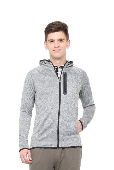 Peter England Grey Hooded Sweatshirts