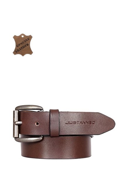Justanned Brown Leather Casual Belt for Men