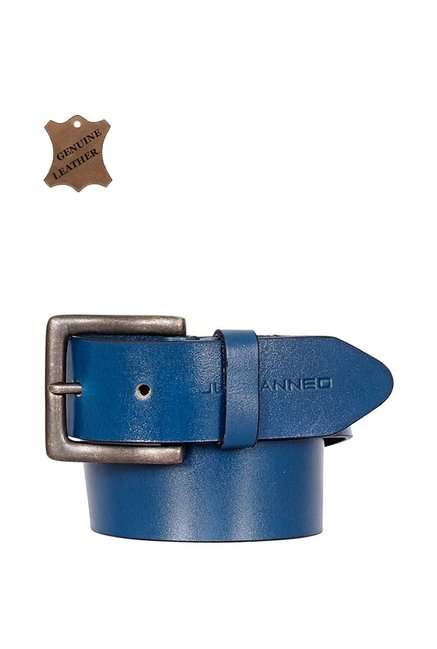 Justanned Blue Leather Casual Belt for Men