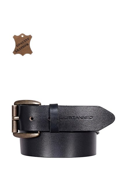 Justanned Black Leather Casual Belt for Men