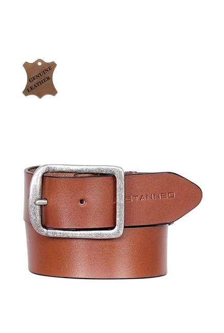 Justanned Tan Leather Casual Belt for Men