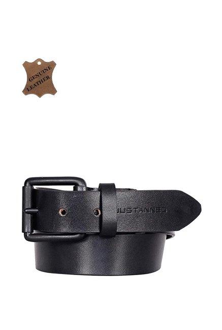 Justanned Black Leather Casual Belt for Men
