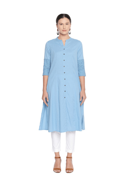 dda6c2c7c Buy Rangmanch by Pantaloons Blue A Line Kurta for Women Online   Tata CLiQ