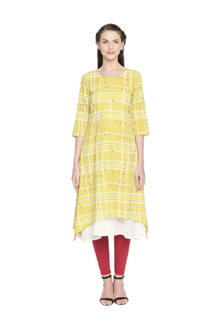 9a12d946242 Buy Rangmanch by Pantaloons Lime Checks Kurta for Women Online   Tata CLiQ