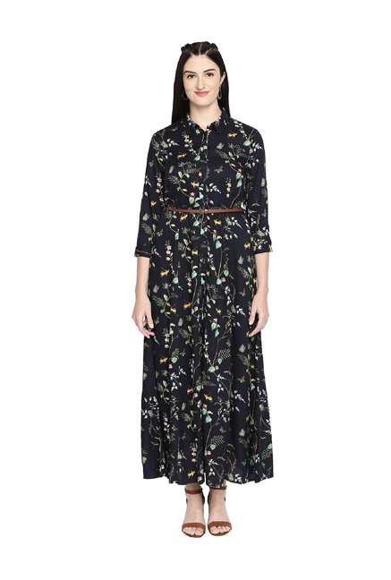 42b26c763c795 Buy Honey by Pantaloons Navy Floral Print Midi Dress for Women Online @  Tata CLiQ