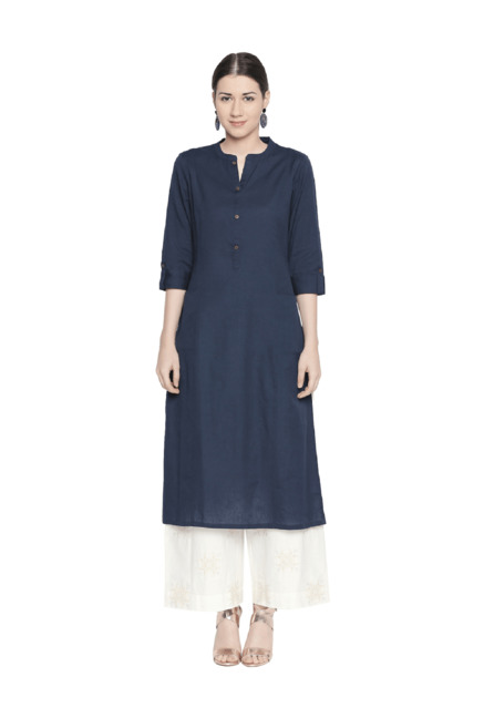 d829fa95e Buy Rangmanch by Pantaloons Indigo Straight Kurta for Women Online   Tata  CLiQ
