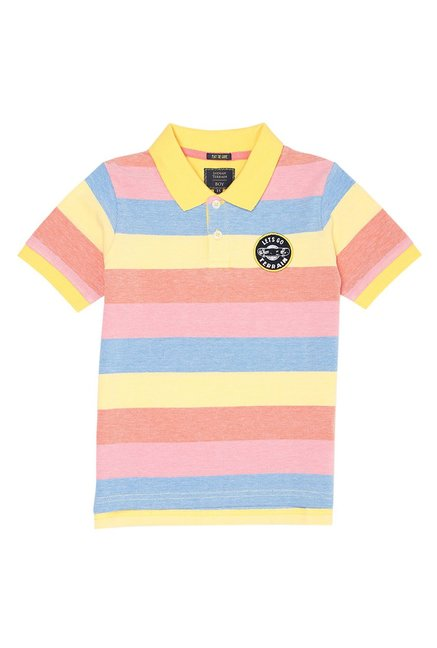 fc330469a7 Buy Indian Terrain Kids Multicolor Striped Polo T-Shirts for Boys ...