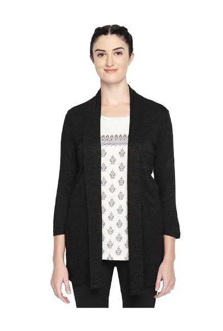 58ded83a042 Buy Ajile by Pantaloons Black Textured Shrug for Women Online   Tata CLiQ