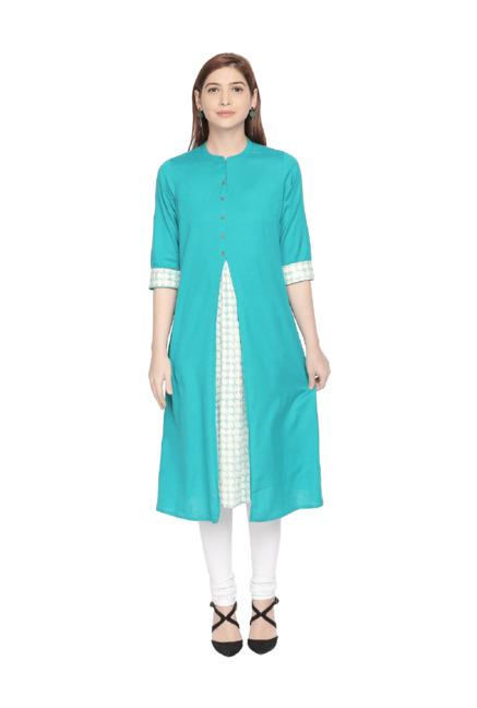 Rangmanch by Pantaloons Turquoise Printed Kurta