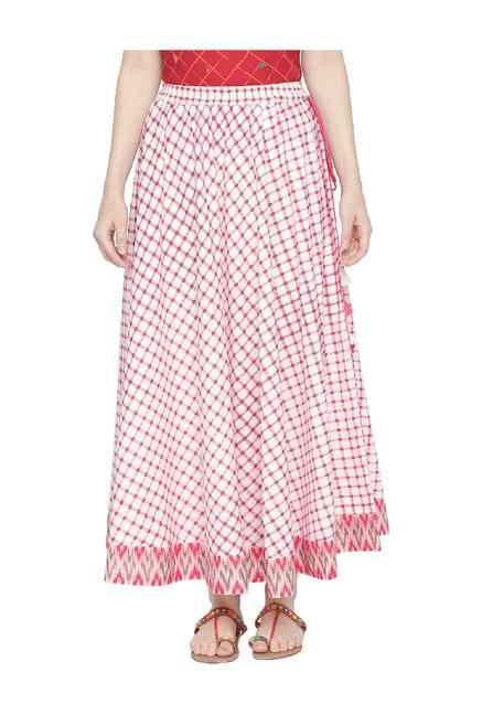 911e4f454 Buy Akkriti by Pantaloons White & Red Checks Maxi Skirt for Women ...