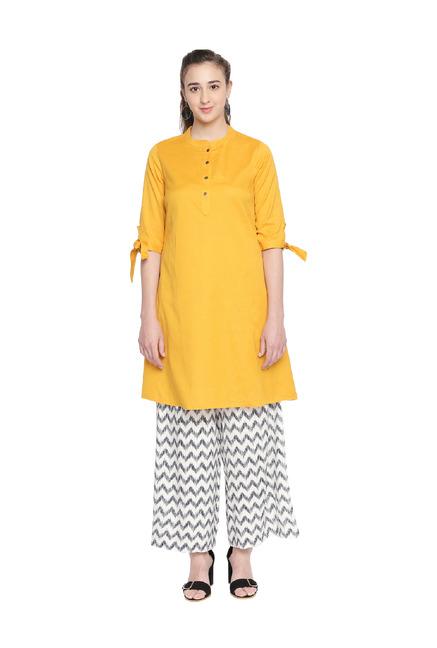 ace1cf45da37 Buy Rangmanch by Pantaloons Yellow Straight Kurta for Women Online @ Tata  CLiQ