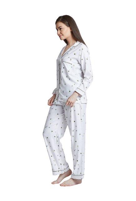 4e3e9e4055 Buy Bohobi White Printed Night Suit for Women Online @ Tata CLiQ