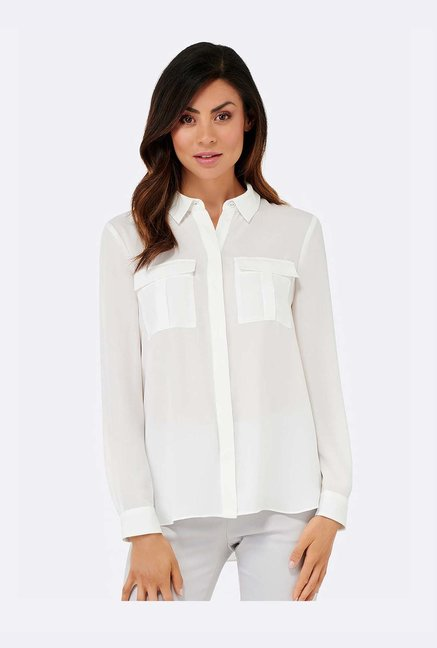 4f72fcb496a Buy Forever New White Relaxed Fit Shirt for Women Online   Tata ...