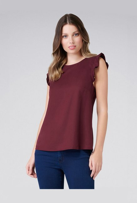 Forever New Dark Wine Relaxed Fit Top