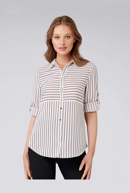 0f2a29f64 Buy Forever New White Striped Shirt for Women Online @ Tata CLiQ