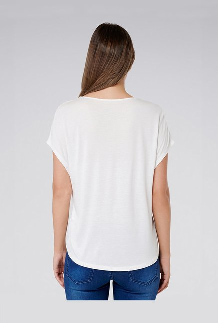 f27db8151 Buy Forever New White Relaxed Fit Top for Women Online @ Tata CLiQ