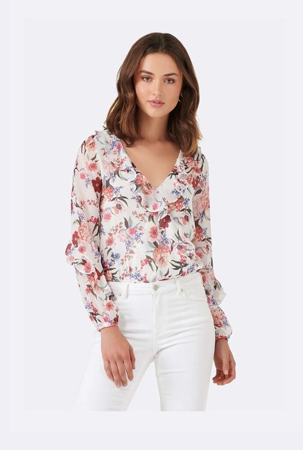 be14040ff Buy Forever New White Floral Print Top for Women Online @ Tata CLiQ