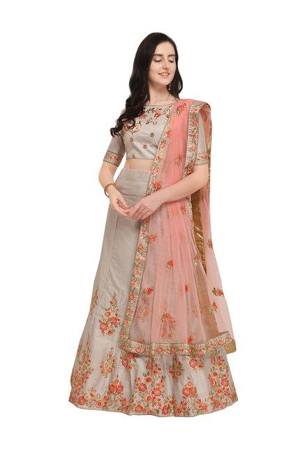 8250ba251f7 Buy Aasvaa Grey Embroidered Semi Stitched Lehenga Choli Set for Women  Online   Tata CLiQ