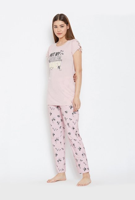 96448142c Buy MADAME M Secret Pink Printed T-Shirt   Pyjama Set for Women ...