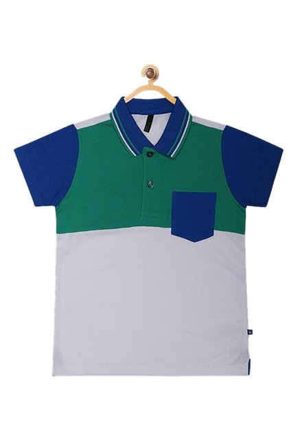 61af12b8 United Colors of Benetton Kids Grey Color Block Polo T-Shirt
