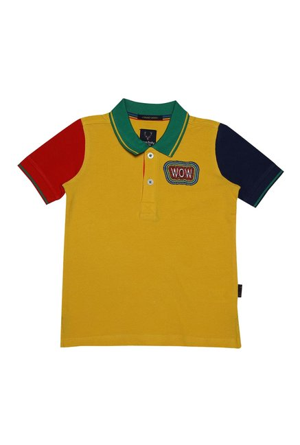 8a41d7161 Buy Allen Solly Junior Yellow Solid Polo T-Shirt for Boys Clothing Online @  Tata CLiQ