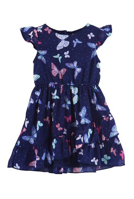 c9ee674e5e190 Buy Beebay Kids Navy Printed Dress for Girls Clothing Online @ Tata ...