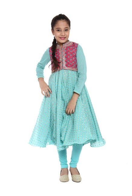 eea8a40181d016 Buy BIBA Girls Turquoise & Pink Embellished Anarkali Suit Set for Girls  Clothing Online @ Tata CLiQ