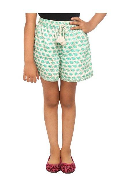 BIBA Girls Beige   Turquoise Printed Shorts