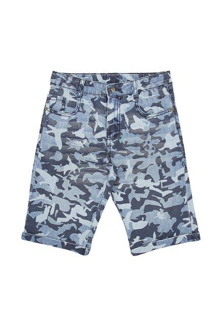 13703e6a219 Buy Pantaloons Junior Navy Camouflage Shorts for Boys Clothing Online @  Tata CLiQ