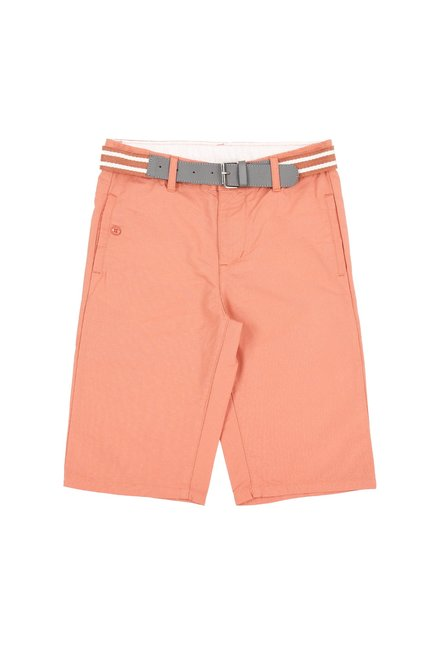 681782b48b Buy Pantaloons Junior Coral Solid Shorts With Belt for Boys Clothing ...