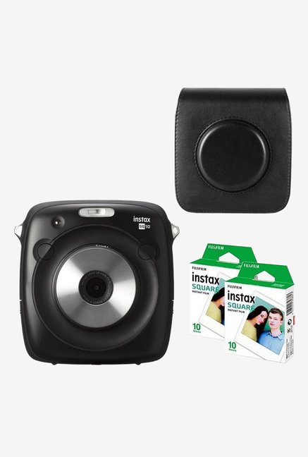 Fujifilm Instax Square SQ10 with Black Case 20 Shots Instant Camera (Black)
