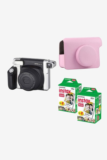 Fujifilm Instax Wide 300 with pink Case 40 Shots Instant Camera  Black