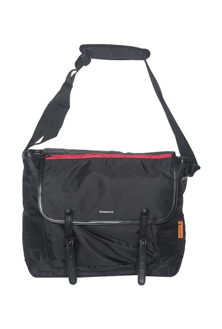 Fastrack Black Polyester Laptop Messenger Bag