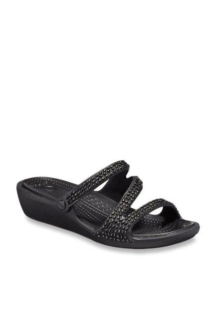 50123899e Buy Crocs Patricia Diamante Black Wedges for Women at Best Price   Tata CLiQ