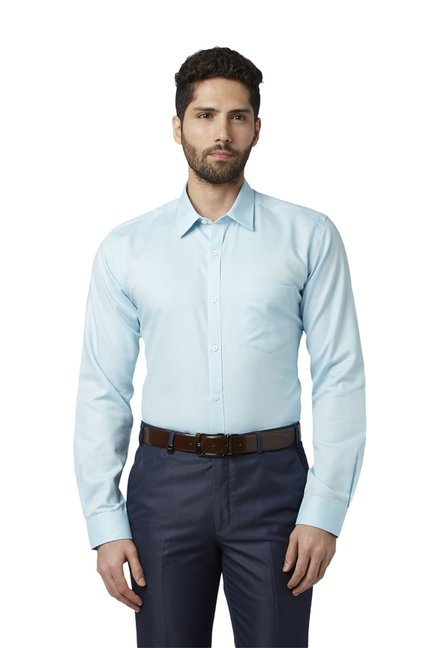 5eefe1a711 Buy Park Avenue Sky Blue Slim Fit Full Sleeves Cotton Shirt for Men Online  @ Tata CLiQ