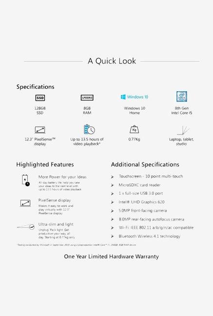 Microsoft Surface Pro 6 1796 (2019) (i5 8th Gen/8GB/128GB SSD/12 3  inch/Win10 H/INT/0 77kg) Platinum