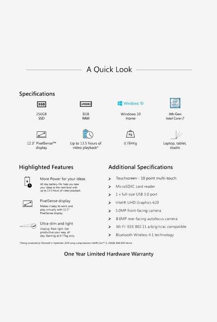 Buy Microsoft Surface Pro 6 (i7 8th Gen/8GB/256GB/(12 3)/W10