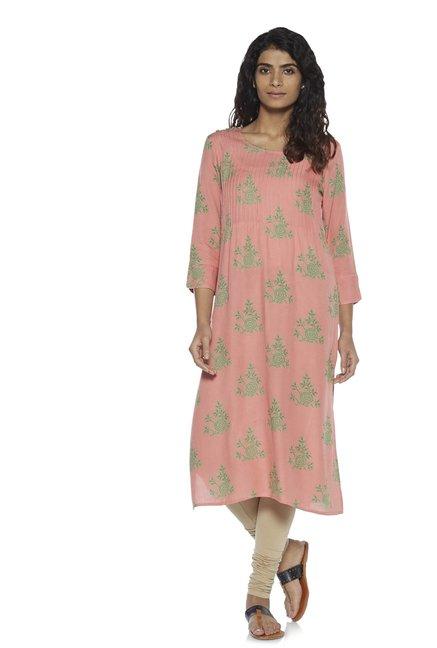 f33096bce3 Buy Zudio Peach Floral Print Straight Kurta for Women Online @ Tata ...