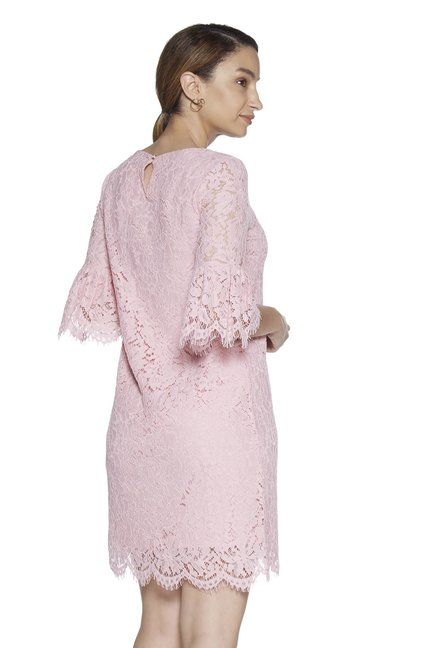 edf48bbce94b Buy Wardrobe by Westside Dusty Pink Floral Lace Crystal Dress for ...