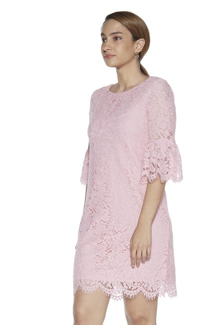 65df8687306a Buy Wardrobe by Westside Dusty Pink Floral Lace Crystal Dress for Women  Online @ Tata CLiQ