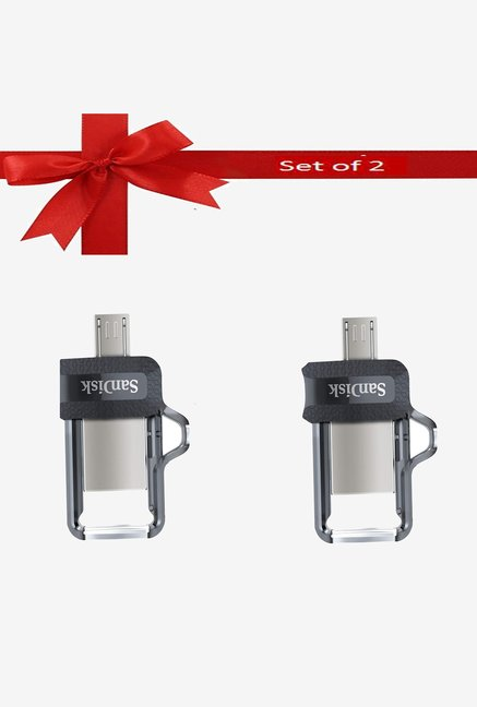 SanDisk 32  GB Ultra Dual M3.0 Pen Drive Silver  Pack of 2