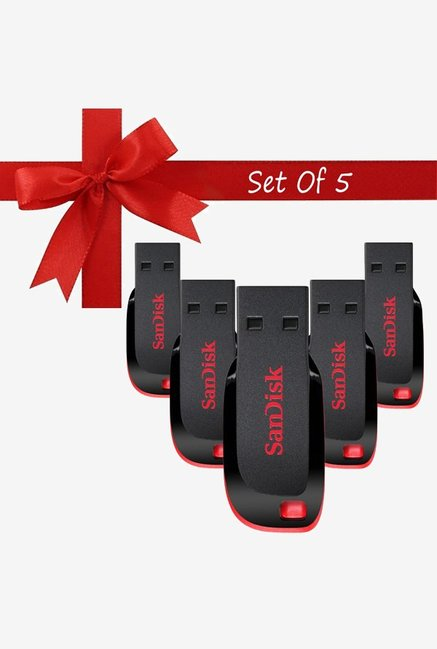 SanDisk Cruzer Blade 16  GB Pen Drive Black  Pack of 5  SanDisk Electronics TATA CLIQ